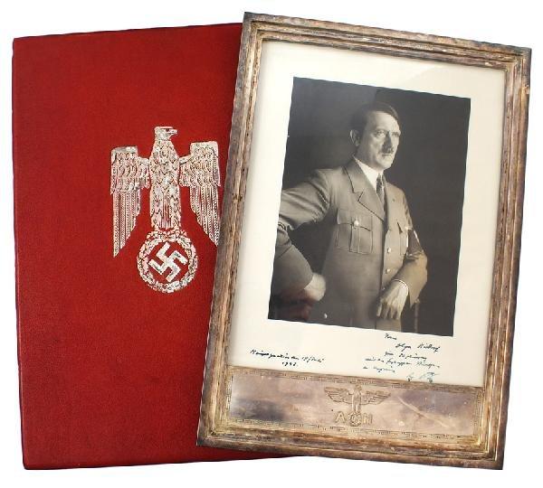 351: Adolf Hitler official silver frame photo presented