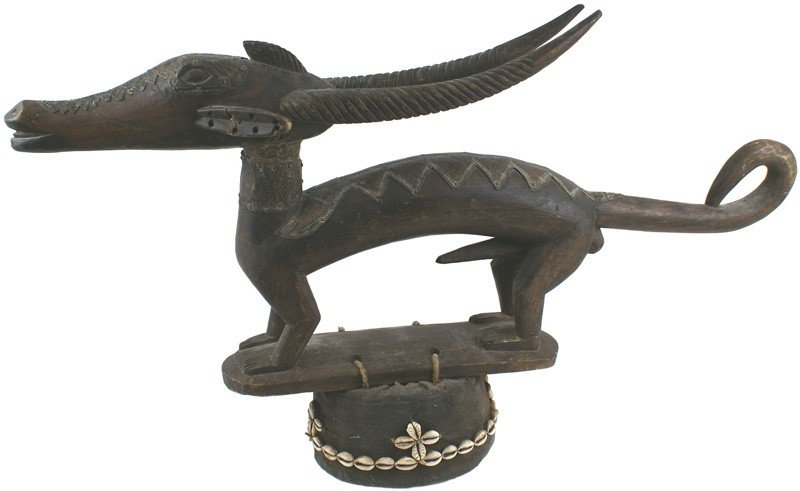 7: African Bamako carved wood antelope headdress