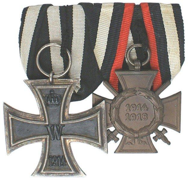 8: German WWI 2-medal bar Iron Cross etc