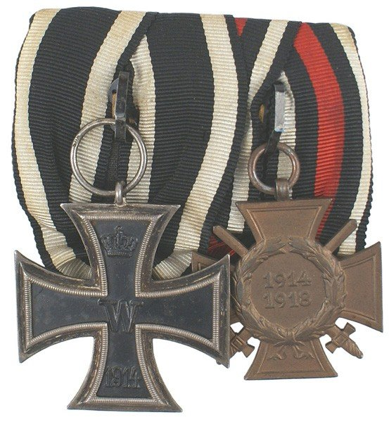 9: German WWI 2-medal bar Iron Cross etc