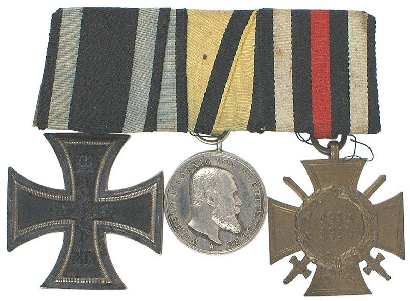 10: German WWI 3-medal bar Iron Cross