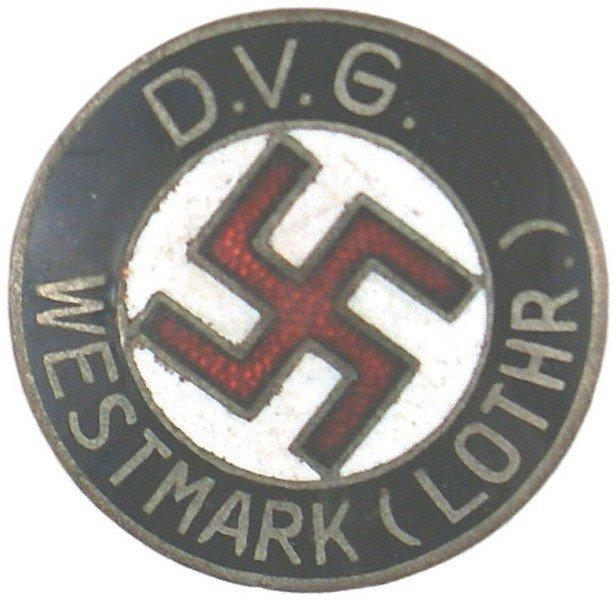 21: German WWII NSDAP member pin DVG Westmark