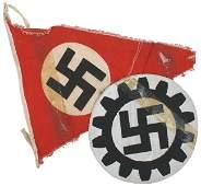 713 Lot of 2 German WWII pennant DAF shirt emblem