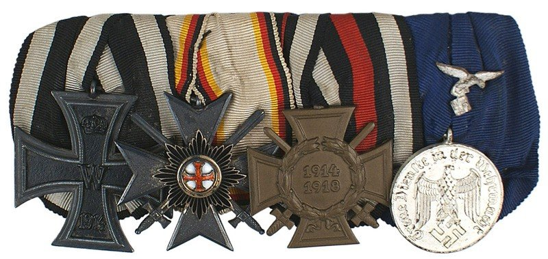 23: German WWI Medal bar Iron Cross etc