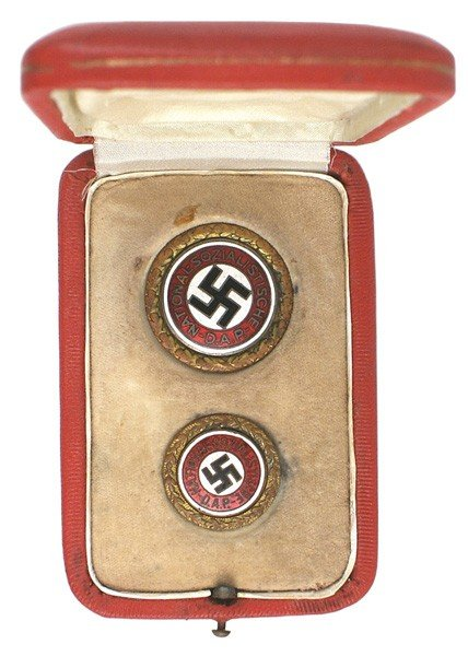 27: Cased pair of NSDAP Gold Party Badges