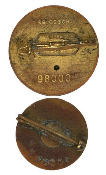 27: Cased pair of NSDAP Gold Party Badges - 2
