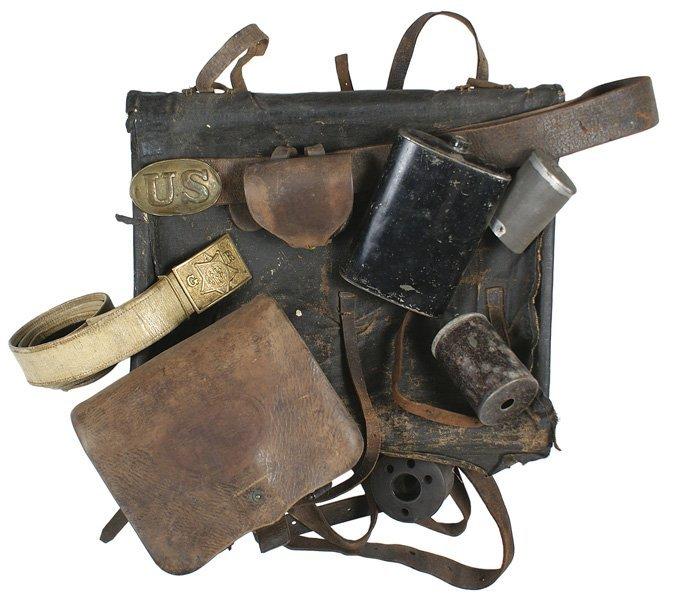 Attic find Civil War lot knapsack belt GAR etc