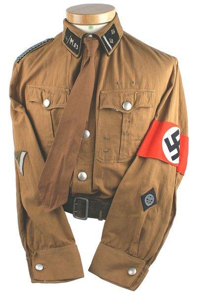 581: German WWII NSKK Obertruppfuhrer brown shirt