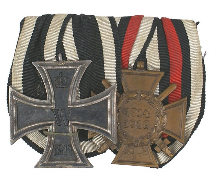 12: German WWI Two medal bar Iron Cross Combatant