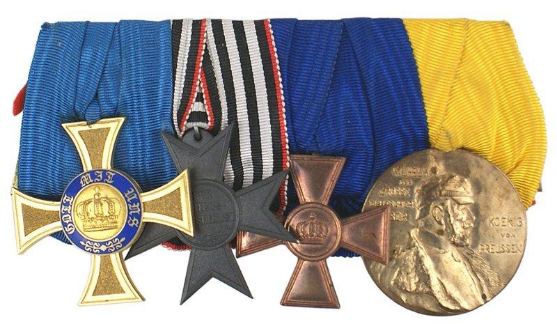 14: German WWI Prussian four Medal bar Crown Order
