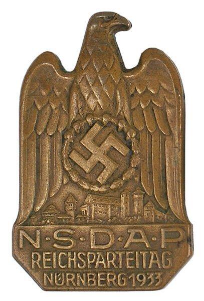 27: German WWII NSDAP NURNBERG 1933 Badge