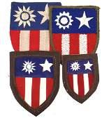 661 Lot of 4 US WWII CBI shields
