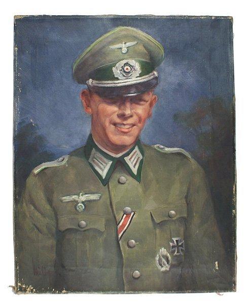 336: German WWII painting Panzer Grenadier officer