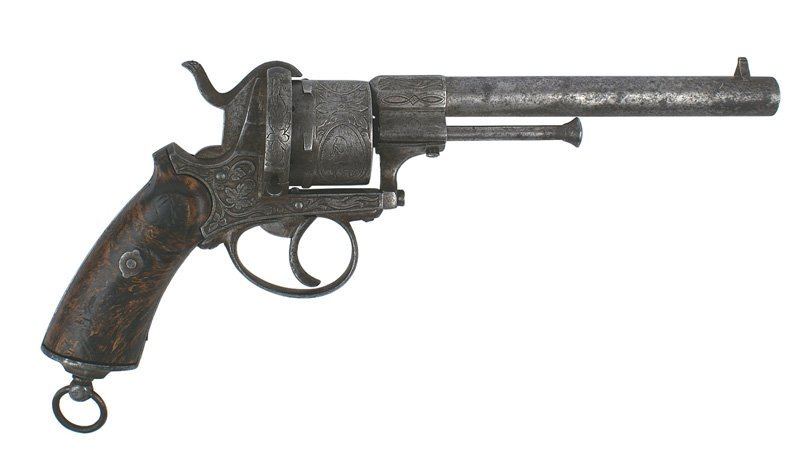Engraved French pin-fire military type revolver Circa 1