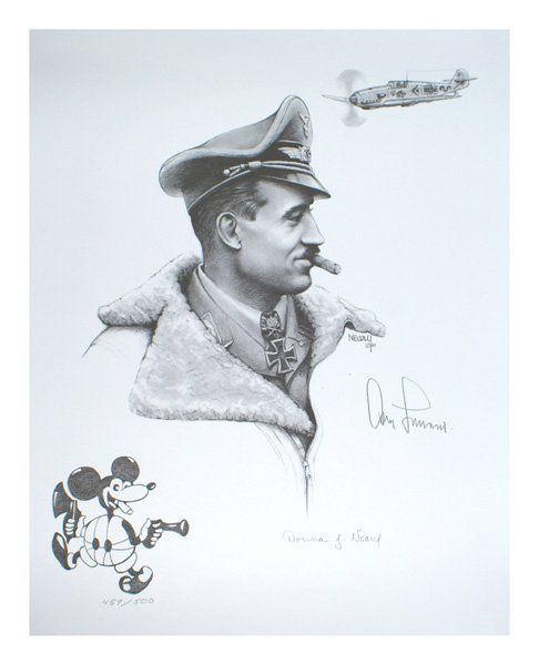 Charcoal German WWII ace Adolf Galland signed