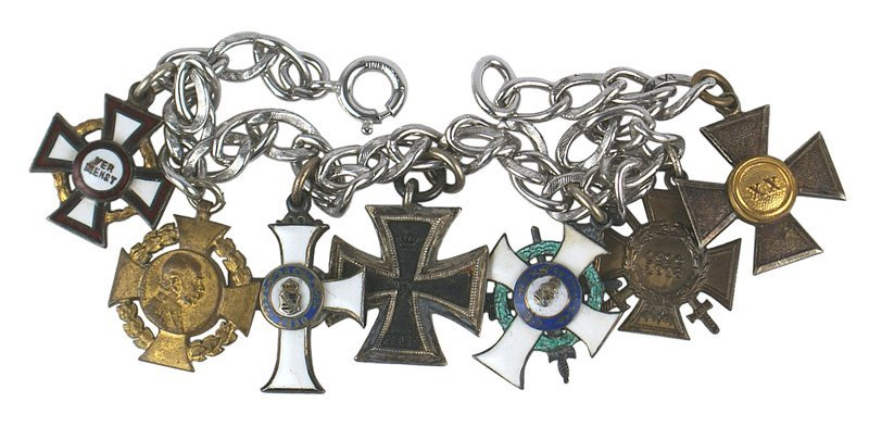 German WWI Silver chain miniature medals