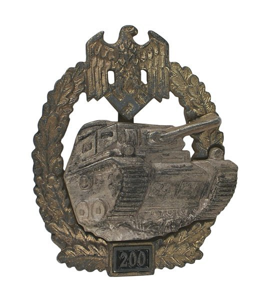 German WWII Panzer 200 Assault Badge Silver