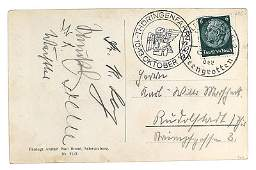 German WWII postcard signed by Ley Saukel etc