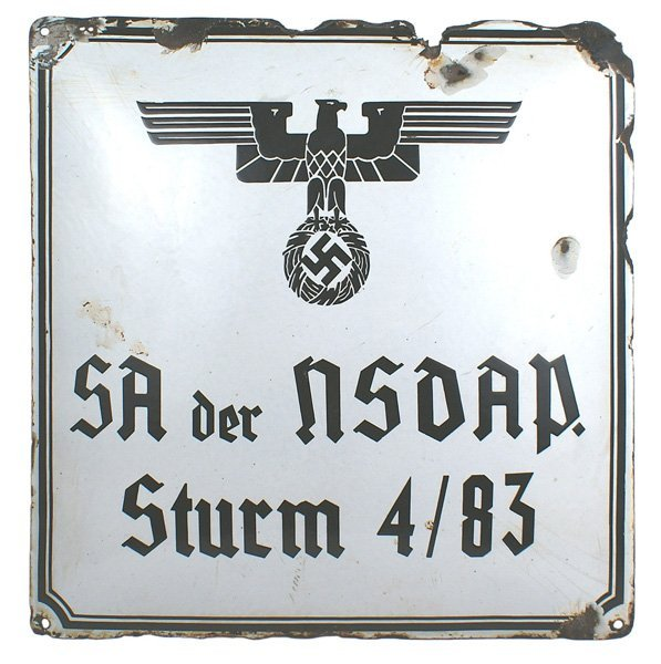 German WWII SA enameled building sign