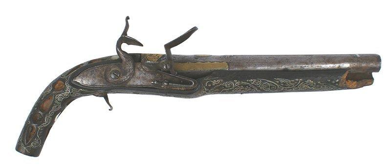 Interesting Mid-Eastern pistol silver 18th Century