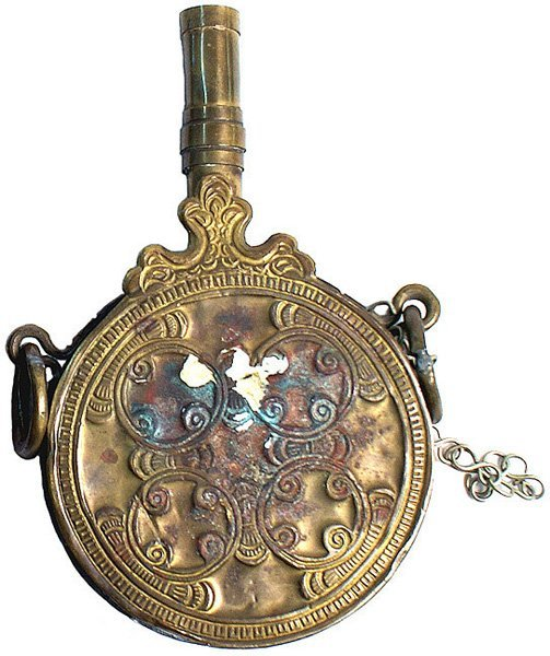 North African brass circular rifle flask