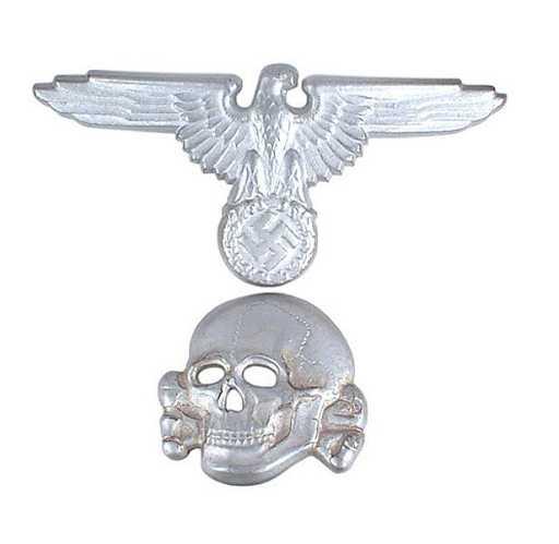 836f636cb66 German WWII Waffen SS peaked cap insignia