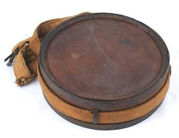 Civil War Confederate wood drum canteen