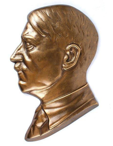 Bronze profile plaque of Adolf Hitler