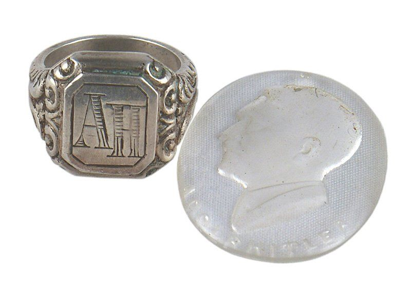 German WWII silver ring Hitler glass