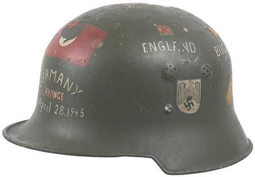 Lot 2 German WWII Helmets US GI Souvenirs