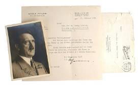 Adolf Hitler ink signed Hoffmann photo card
