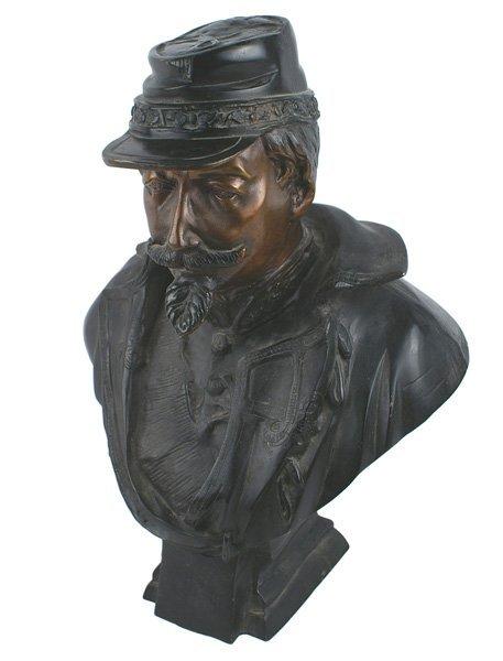 Darkened bronze bust of Napoleon III