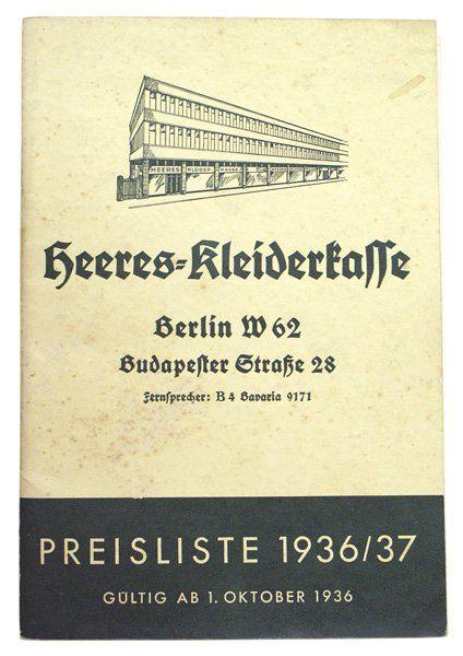 Original German 1936/37 company price list
