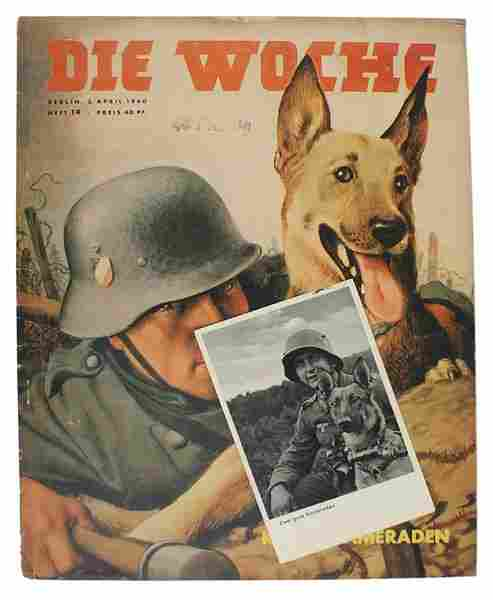 Lot of 2 German WWII post cards dogs etc