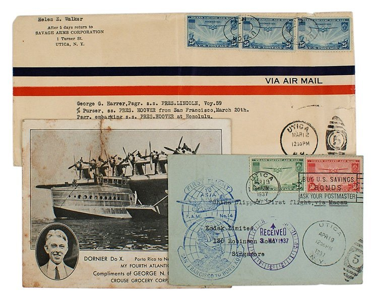 Lot of 3 Trans-oceanic philatelic items