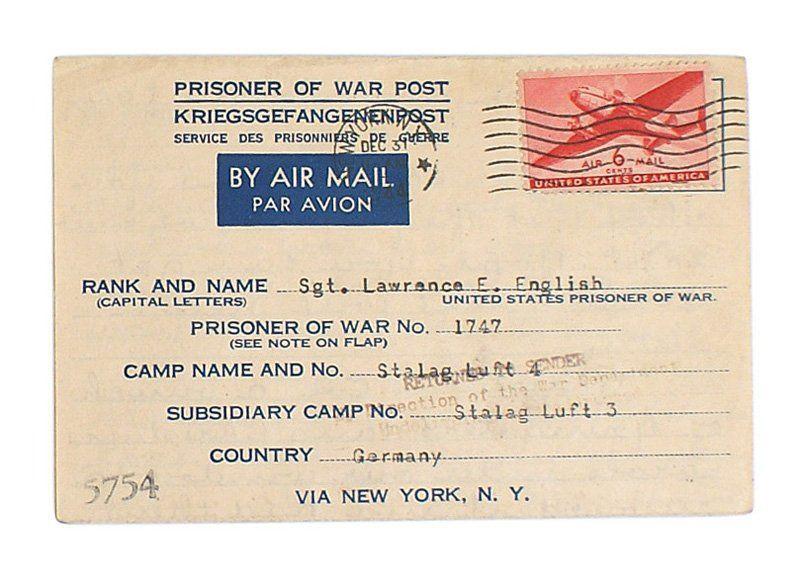 U.S. PRISONER OF WAR POST card
