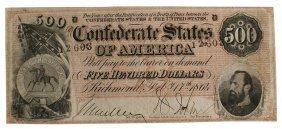 Civil War Confederate $500 Bill Note