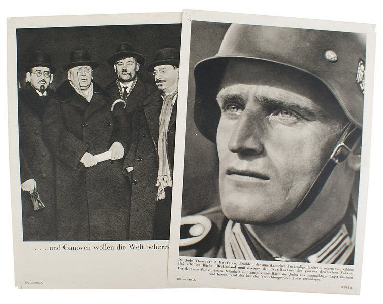Lot of Third Reich propaganda posters anti-semetic