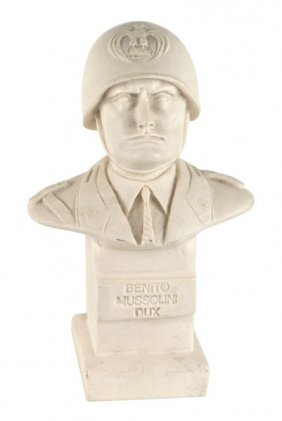 White Marble Bust Of Benito Mussolini