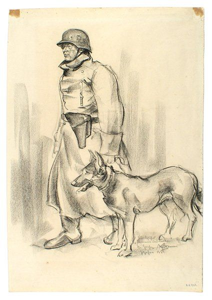 Charcoal drawing German WWII soldier dog