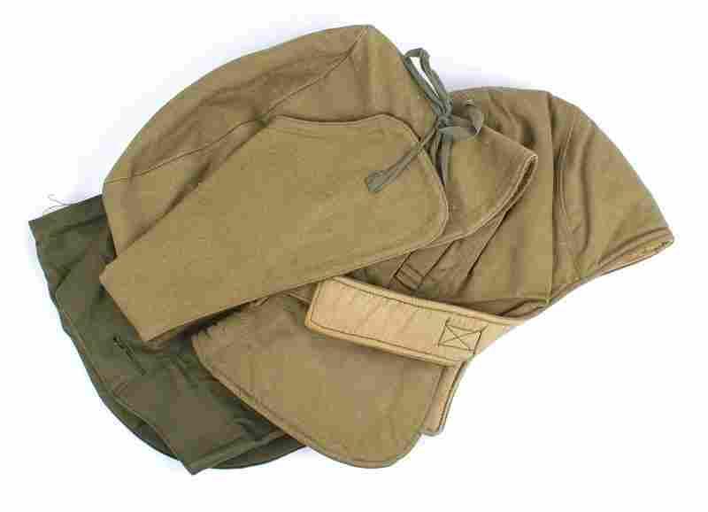 Lot of 3 U.S. Army M1907 winter cap etc