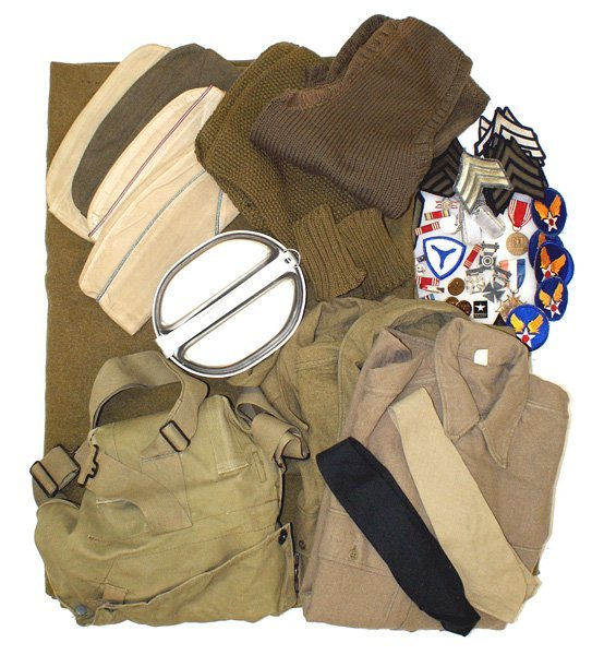 U.S. WWII uniform lot gasmask etc