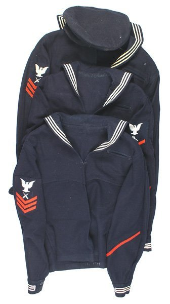 Lot of 3 U.S. Navy WWII blue jumpers