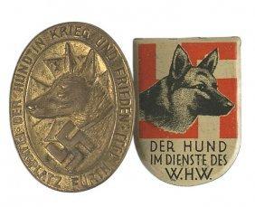 Lot 2 German Wwii Tinnies Shepherd Dog