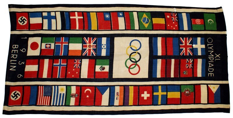 1936 German Berlin Olympics street flag