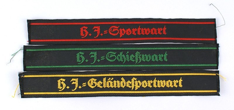 Lot of 3 German WWII Hitler Youth cufftitles