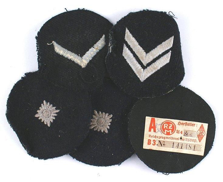 Lot of 5 German WWII DJ rank insignia