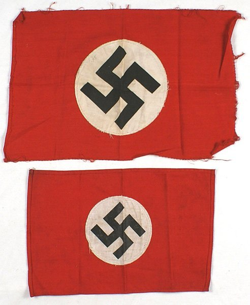 Lot of 2 small German WWII NSDAP flags