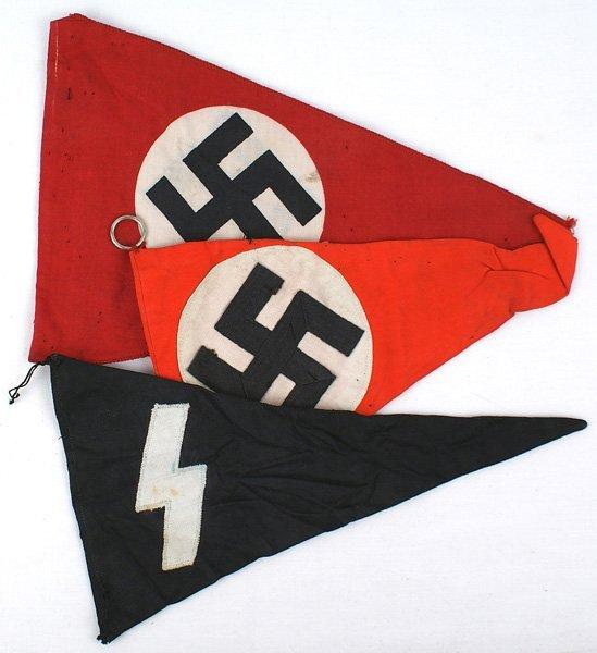 Lot of 3 German WWII pennants DJ NSDAP
