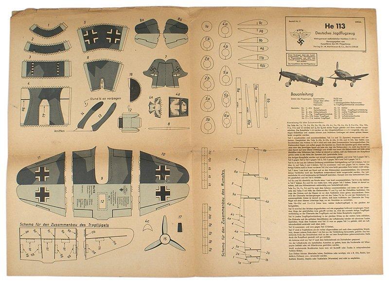 Original German WWII NSFK paper HE-113